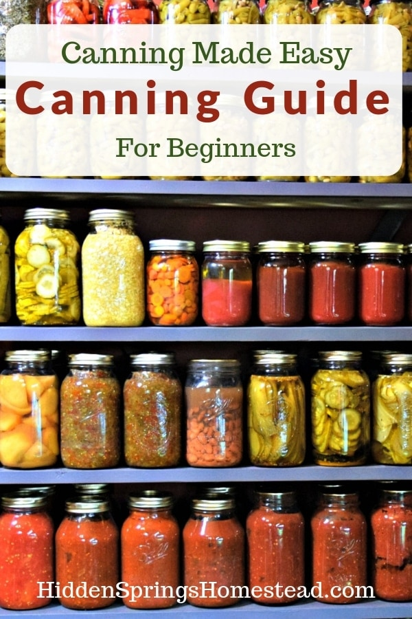 Canning shelves loaded. Canning Guide for Beginners. Hidden Springs Homestead