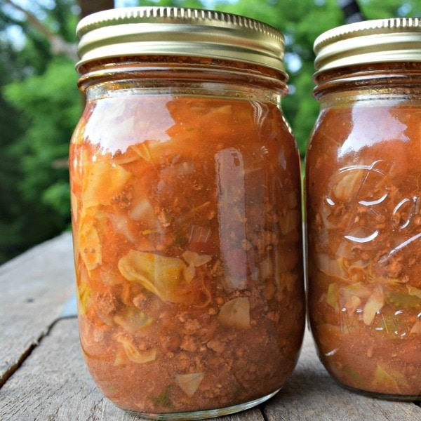can cabbage beef soup. Soup in a pint jar