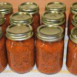 12 pint jars of homemade pizza sauce