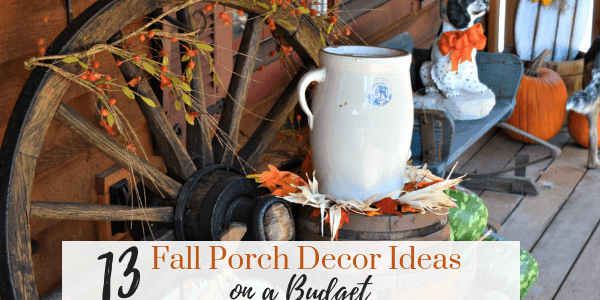 FALL PORCH DECOR Ideas. Trying to decide how to decorate for fall? Here's ya 13 fall decor ideas that are DIY on a budget. Simple and beautiful. Pumpkins, Hay Bales, Benches, all at the front entry. Cozy up our fall porch decor with these ideas.