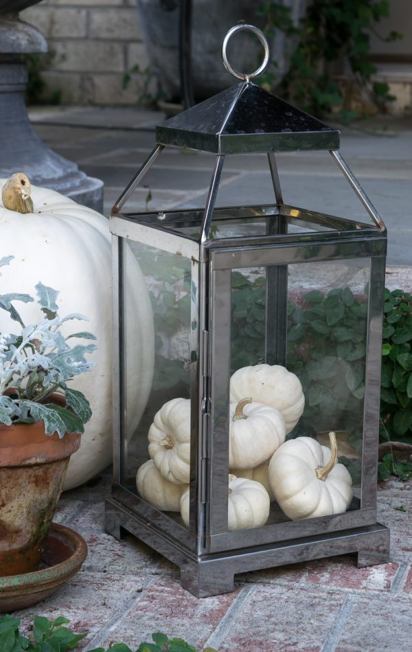 Love farmhouse fall decor? Try using white pumpkins and Dusty Miller to cozy up your fall porch decor. Decorating for fall can be simple .