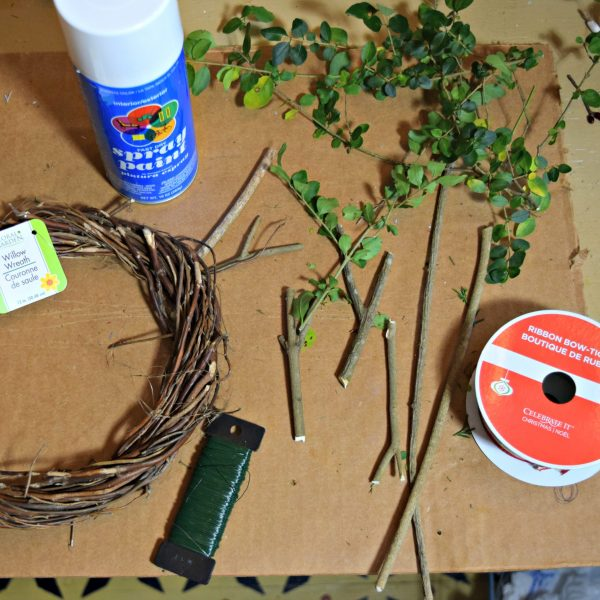 evergreens and supplies needed to make a twig wreath. Hidden Springs Homestead
