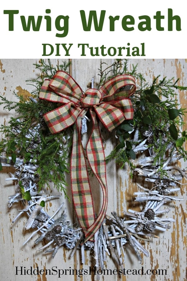 Finished twig wreath hanging. How to make a twig wreath. Hidden Springs Homestead